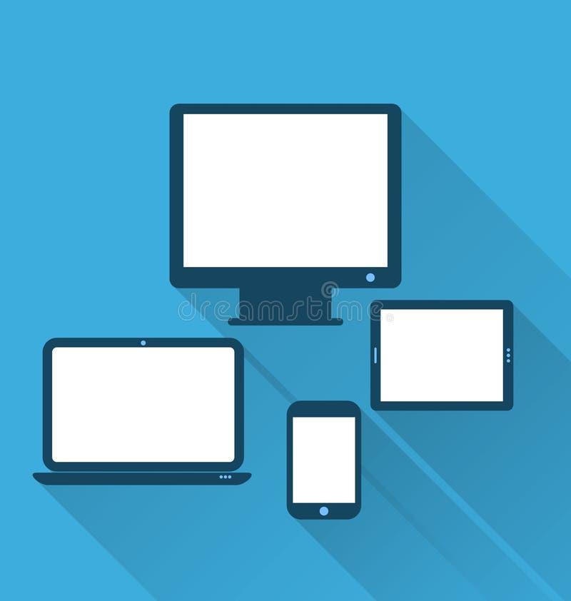 Moniteur, ordinateur portable, tablette, et téléphone portable, icônes plates W illustration de vecteur