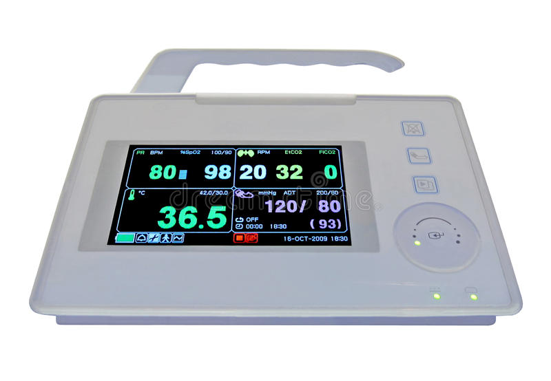 Moniteur portatif cardio-vasculaire coloré, médical, photographie stock