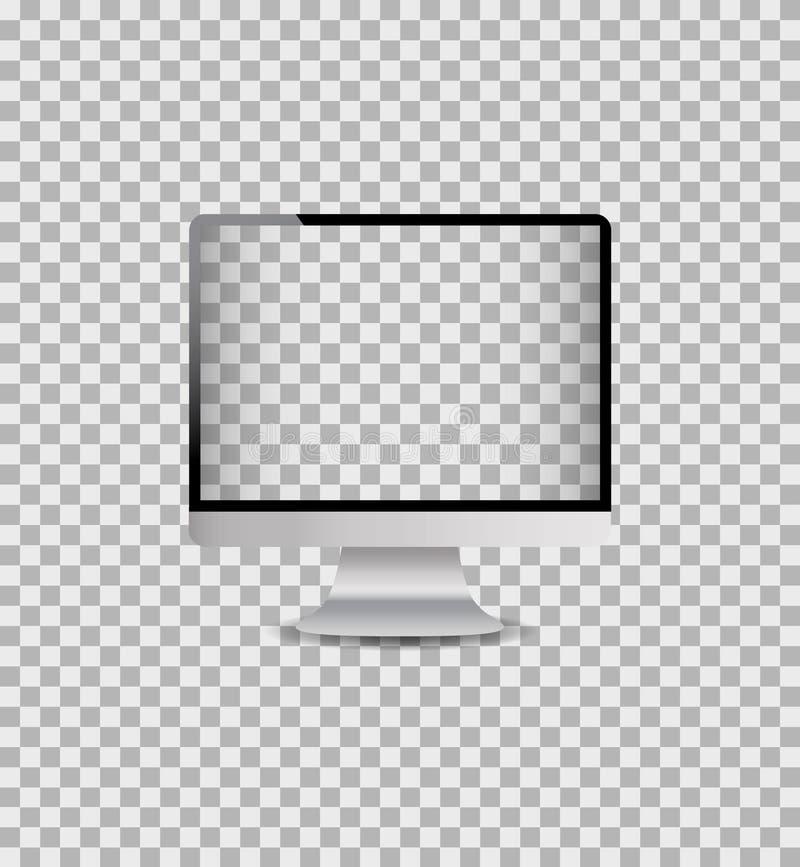 Moniteur réaliste d'ordinateur de maquette avec l'écran numérique PC de bureau de calibre avec le cadre argenté Vecteur illustration libre de droits