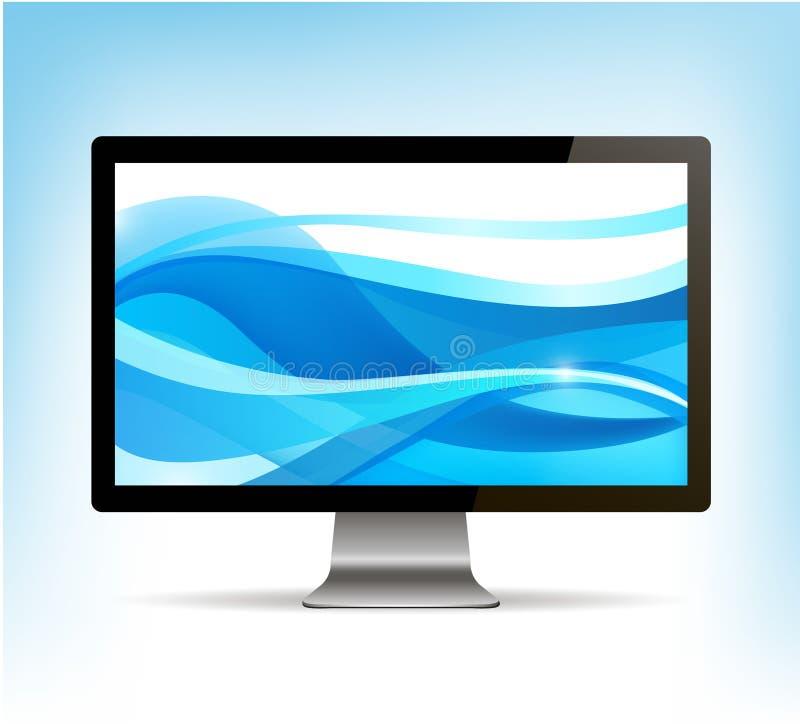 Moniteur réaliste d'ordinateur de vecteur, affichage de PC illustration libre de droits