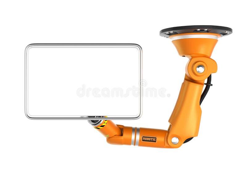 Moniteur robotique orange de blanc de participation de bras de plafond pour l'espace de copie illustration stock