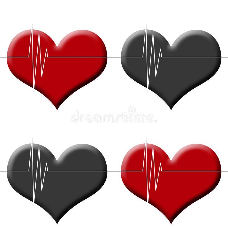 Moniteur sans couture de battement de coeur de fond de Tileable sur le rouge et le noir illustration libre de droits
