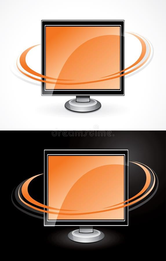 Moniteurs oranges d'ordinateur illustration libre de droits