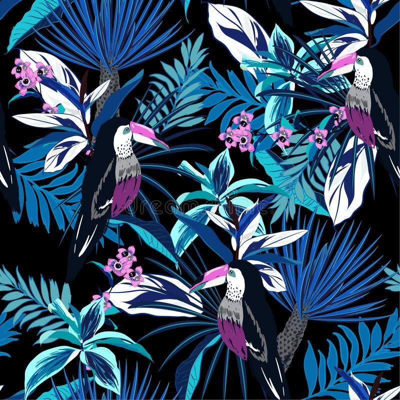 Monitone μπλε τροπικό δασικό ζωηρόχρωμο Toucan, εξωτικά πουλιά, τ απεικόνιση αποθεμάτων