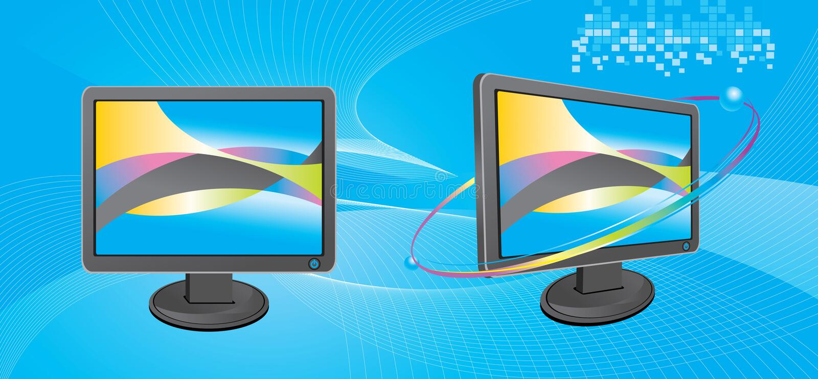 Monitor. Two monitor with blue background vector illustration