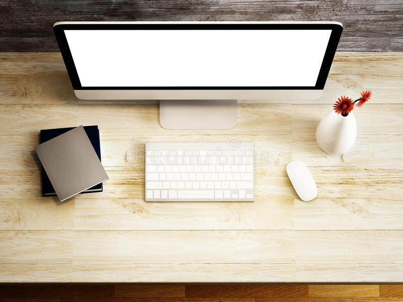 Monitor and accessory on the wood table stock illustration