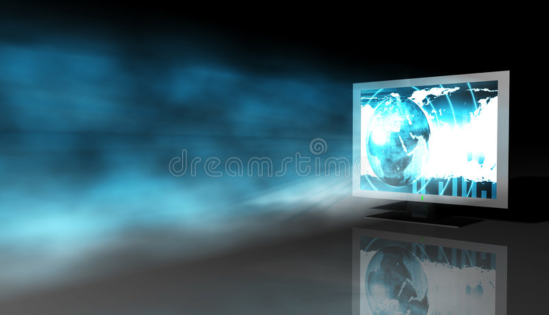 Monitor azul do Lcd ilustração stock