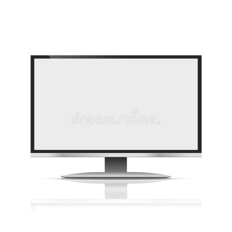 Monitor black color with blank screen on the grey background. stock vector illustration eps10 vector illustration