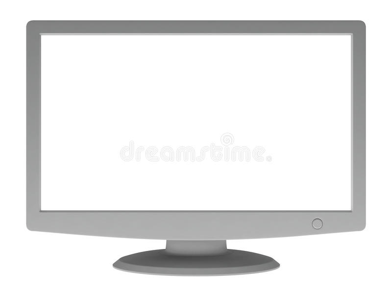 Monitor with blank screen. Isolated on white background stock illustration