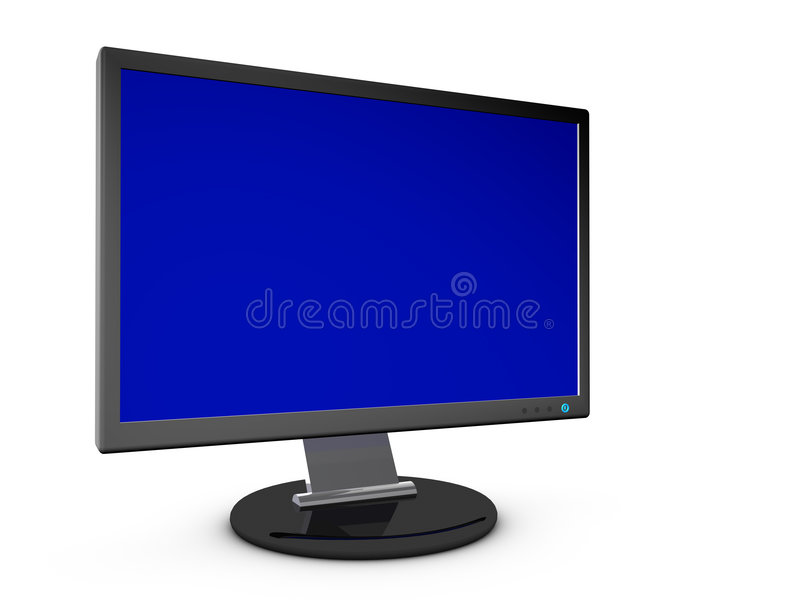 Monitor with Blank Screen. 3D Render of a computer monitor with blank screen stock illustration