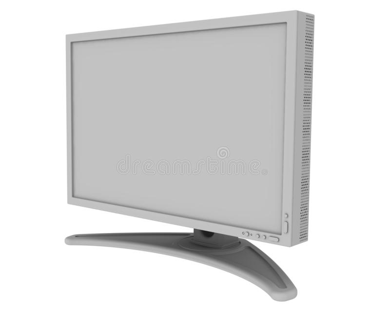 Monitor with blank screen. Gray monitor with blank screen on white background. Isolated. 3D Illustration stock illustration