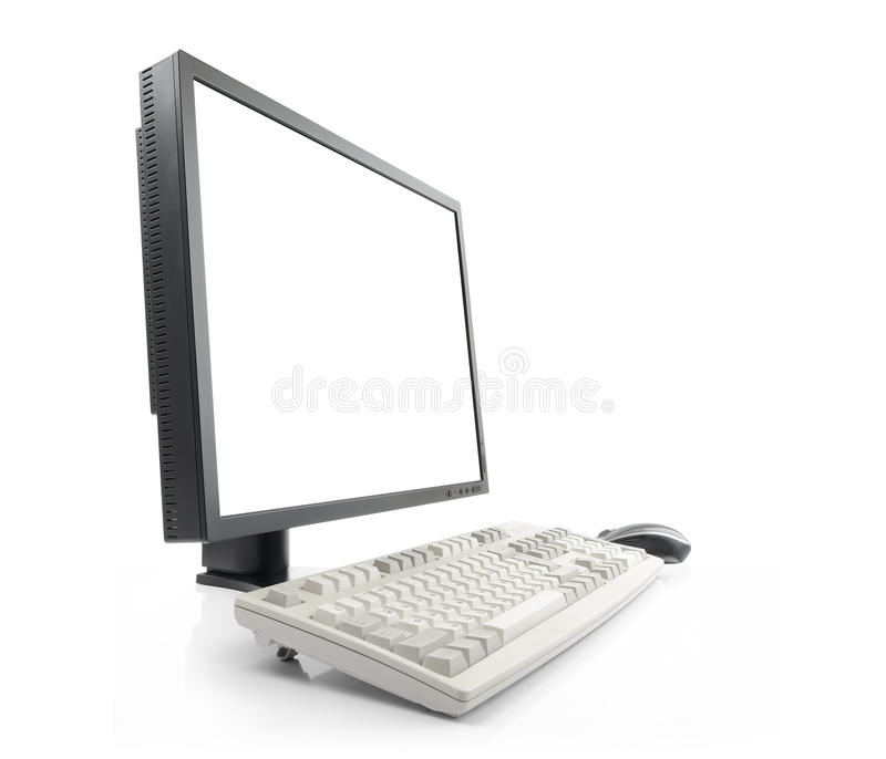 Download Monitor With Blank White Screen And Keyboard Royalty Free Stock Images - Image: 26402729