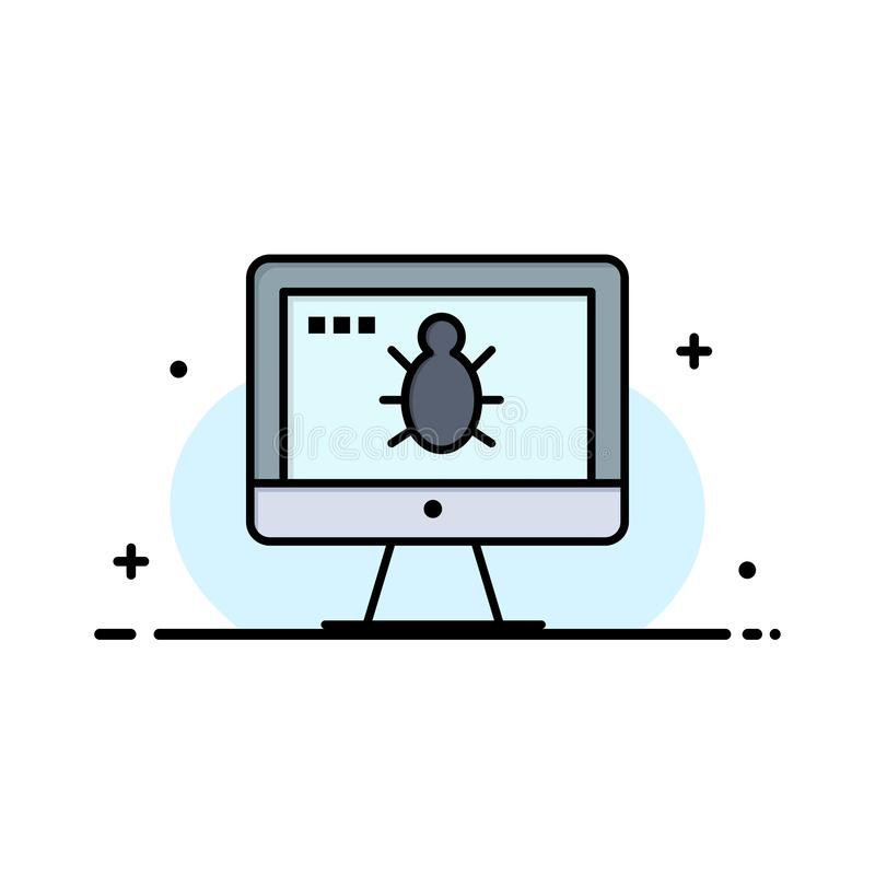 Monitor, Bug, Screen, Security  Business Flat Line Filled Icon Vector Banner Template stock illustration