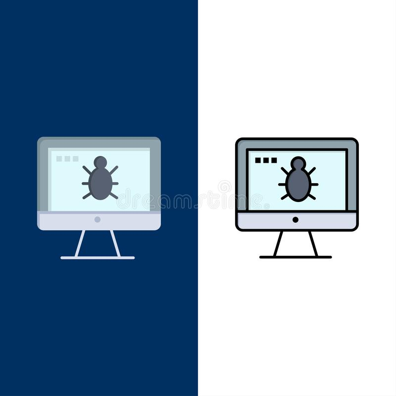 Monitor, Bug, Screen, Security  Icons. Flat and Line Filled Icon Set Vector Blue Background vector illustration
