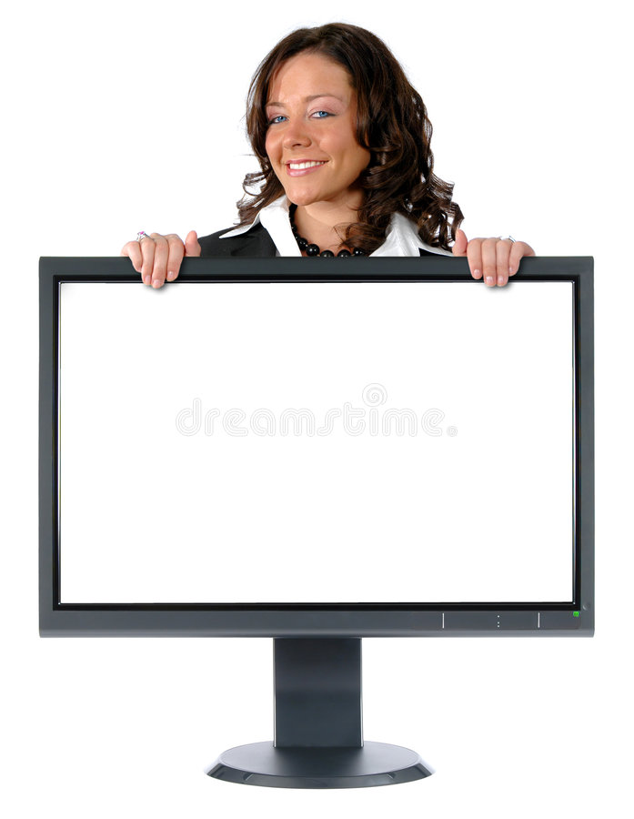 Monitor and businesswoman with. LCD monitor and businesswoman isolated over a white background stock images