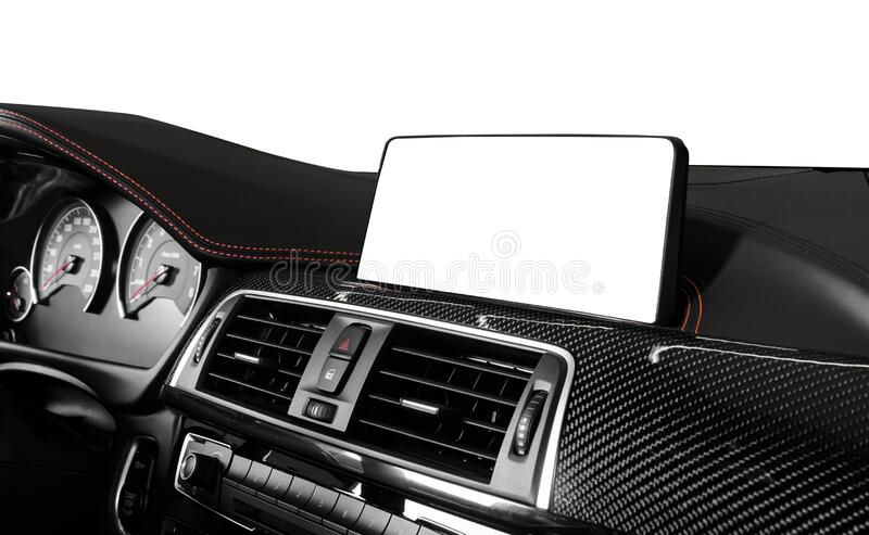 Monitor in car with blank screen. navigation maps concept. isolated on black royalty free stock photo