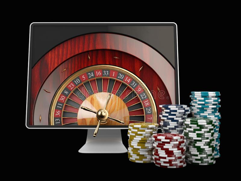 Monitor with casino roulette wheel on screen. Gambling app concepts. 3d illustration. vector illustration