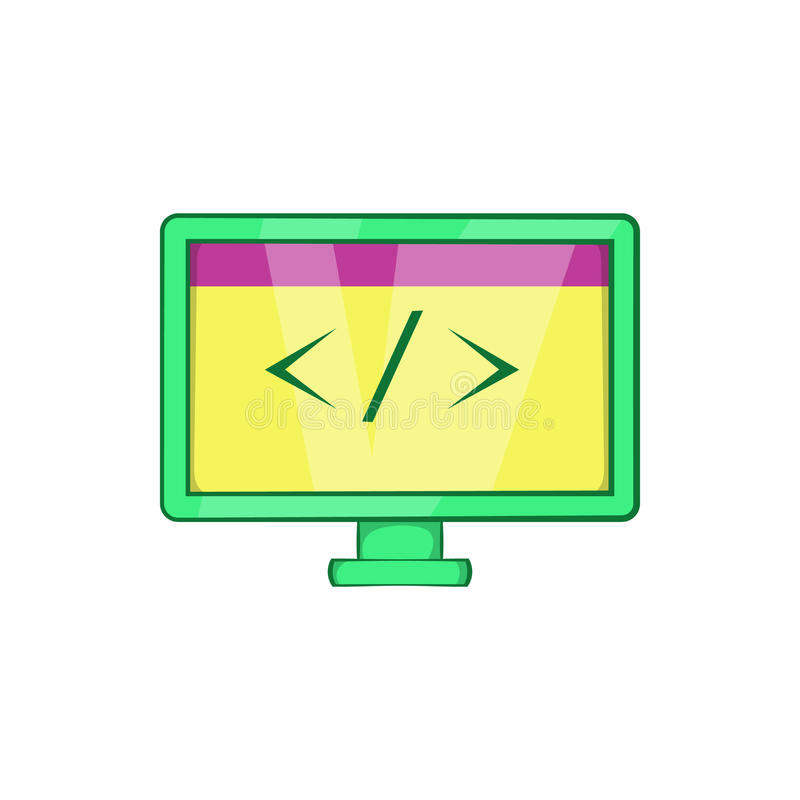Monitor com ícone do sinal da esquerda à direita, estilo dos desenhos animados ilustração do vetor