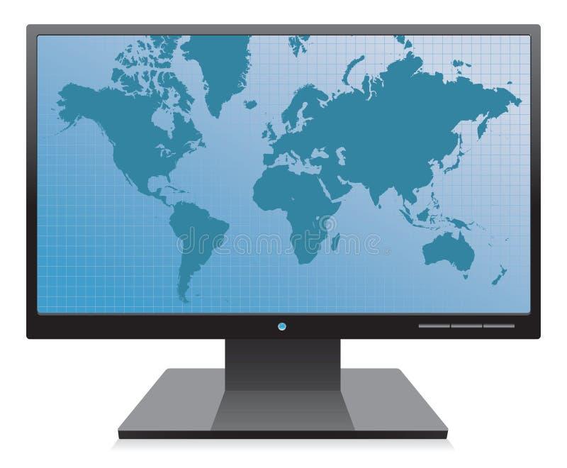 Monitor com fundo do mapa de mundo ilustração royalty free