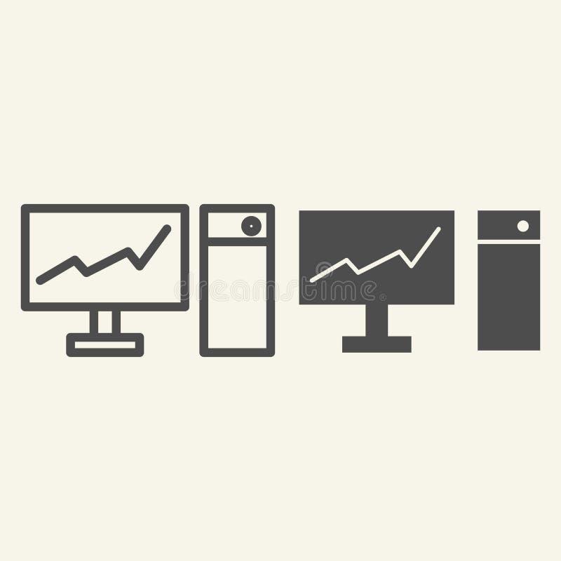 Monitor com gráfico na linha da tela e no ícone do glyph Carta na ilustração do vetor do PC isolada no branco Diagrama sobre ilustração royalty free