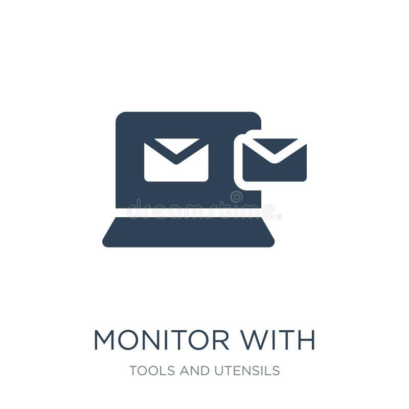 monitor com saída dos envelopes da mensagem do ícone da tela no estilo na moda do projeto monitor com saída dos envelopes da mens ilustração do vetor