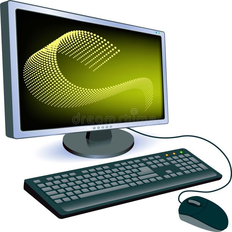 Monitor com teclado e rato ilustração royalty free