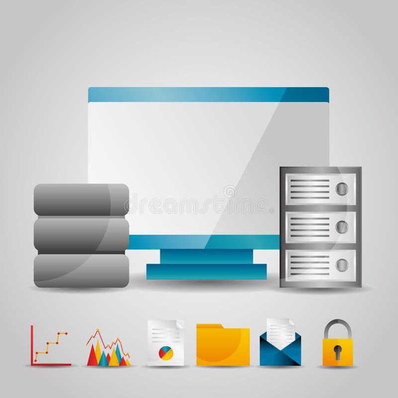 Monitor computer data base server technology information. Vector illustration vector illustration