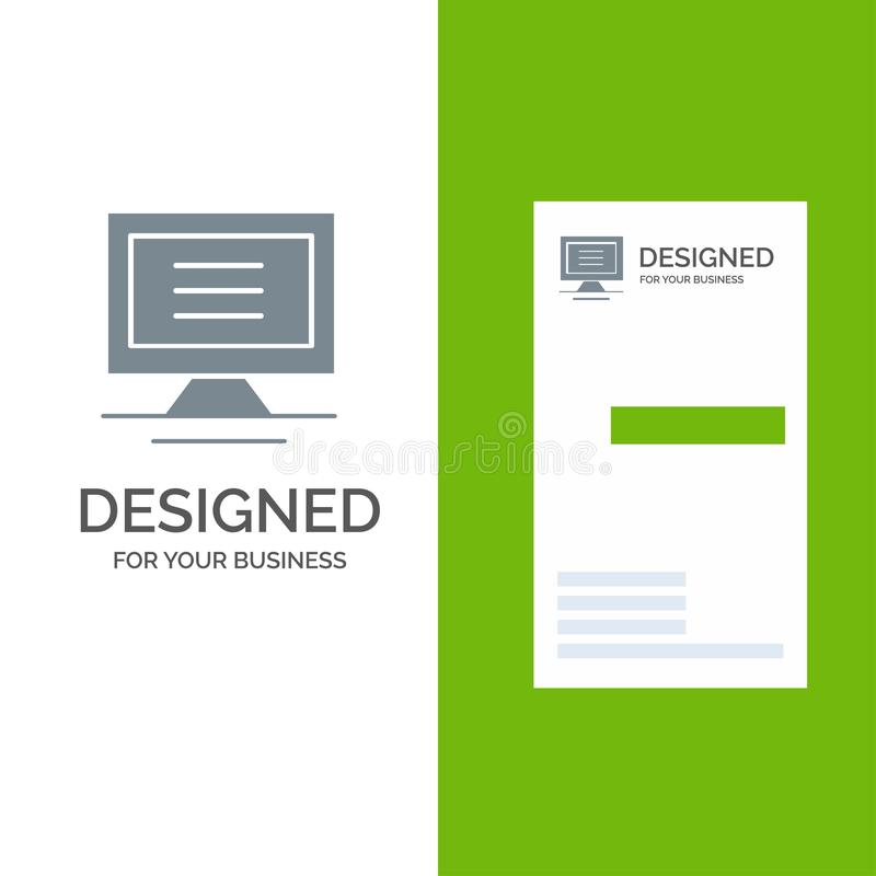 Monitor, Computer, Hardware Grey Logo Design and Business Card Template vector illustration
