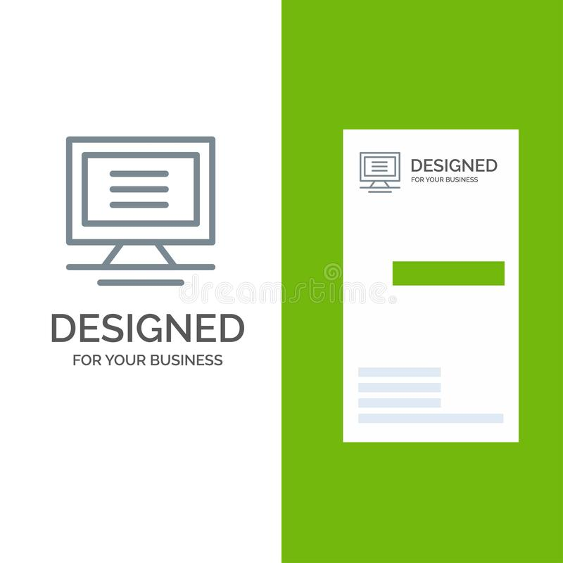 Monitor, Computer, Hardware Grey Logo Design and Business Card Template stock illustration