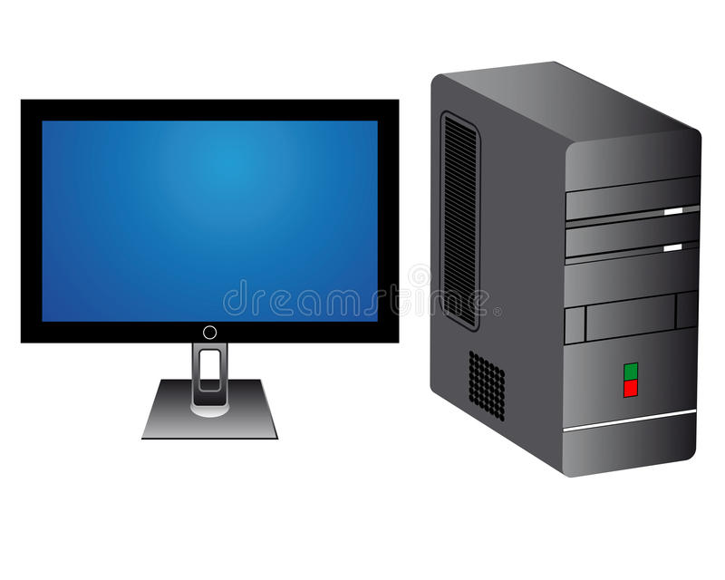 Monitor and computer tower. On white background vector illustration