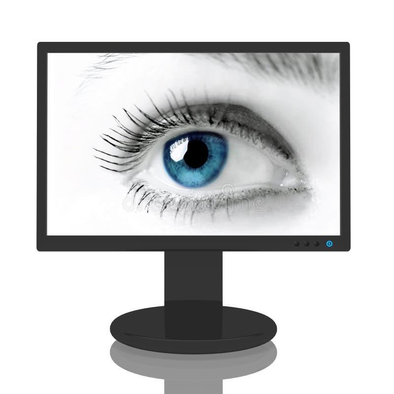 Monitor con el ojo azul ilustración del vector