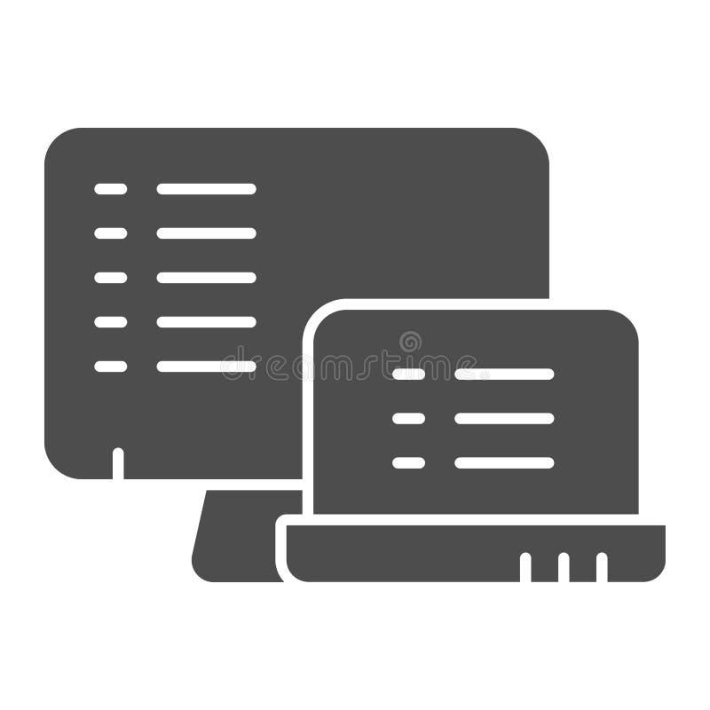 Monitor con l'icona solida della lista Liste sull'illustrazione di vettore dei dispositivi isolata su bianco Documenti su stile d illustrazione vettoriale