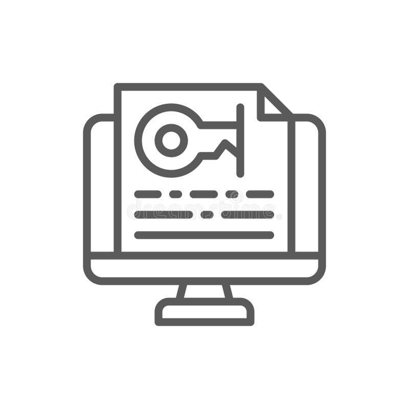 Monitor con la contraseña, línea dominante icono del texto libre illustration