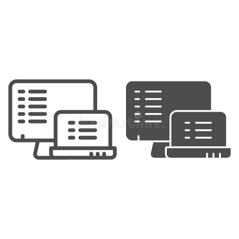 Monitor con la linea della lista e l'icona di glifo Liste sull'illustrazione di vettore dei dispositivi isolata su bianco Documen illustrazione vettoriale