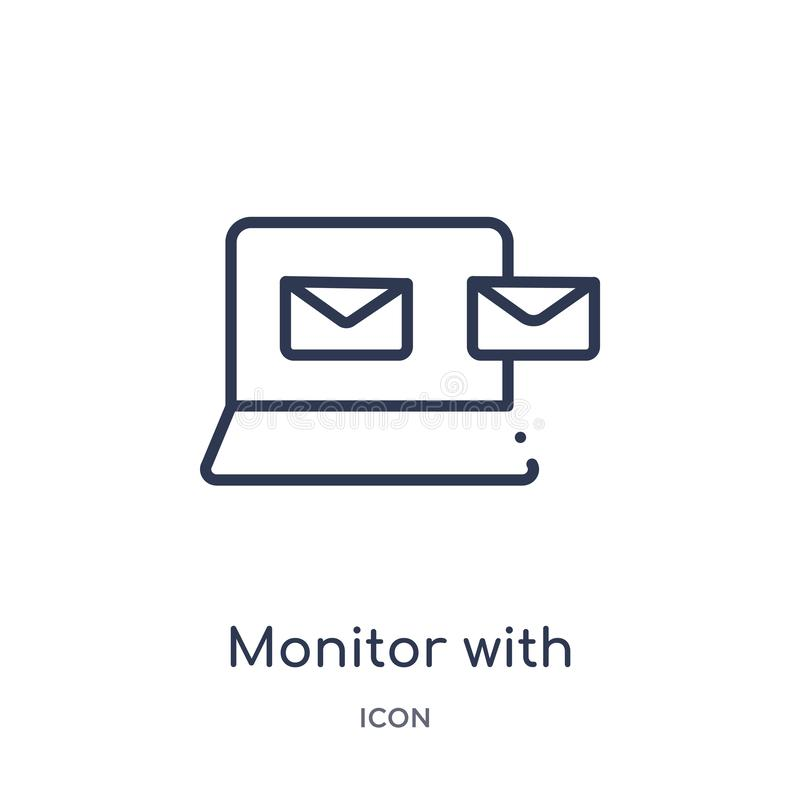 monitor con la salida de los sobres del mensaje del icono de la pantalla de la colección del esquema de las herramientas y de los libre illustration