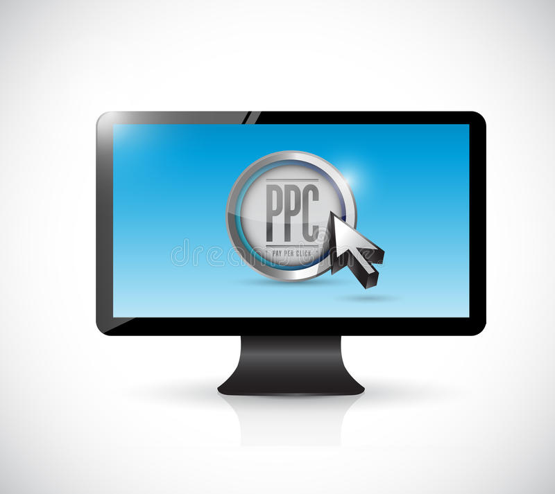 Monitor con paga por el botón del tecleo. concepto del ppc stock de ilustración
