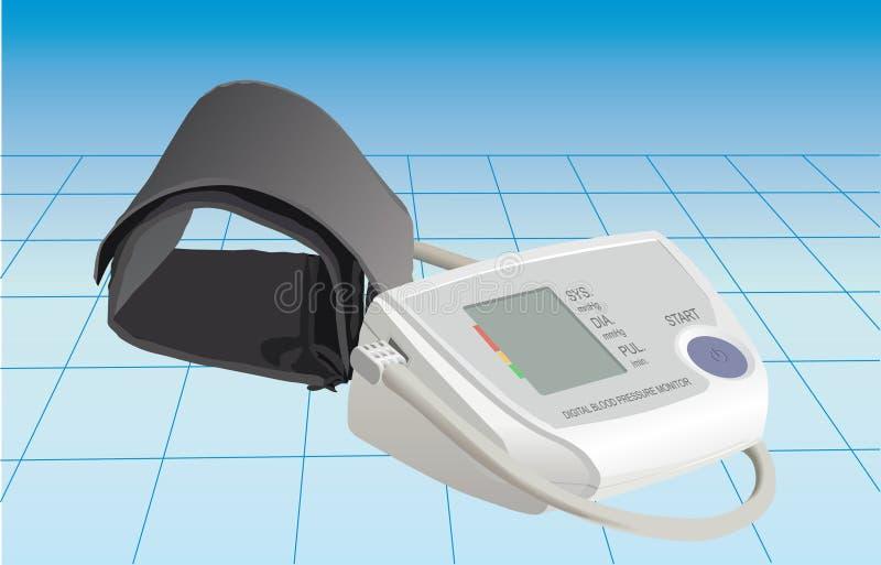 Monitor da pressão sanguínea de Digitas ilustração do vetor