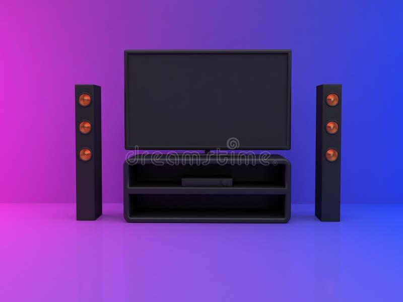 monitor da televisão na cena azul cor-de-rosa 3d da sala para render o cinema em casa, conceito do entretenimento ilustração stock
