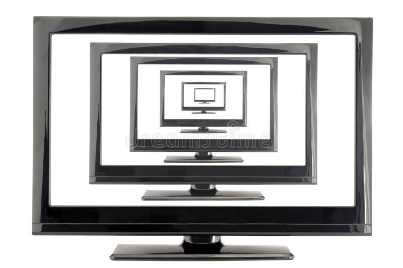 Monitor da tevê do Lcd com muitas telas isoladas no branco imagens de stock royalty free