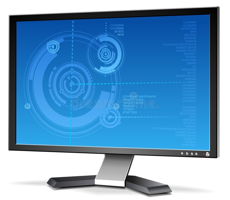 monitor de 3D LCD ilustração stock