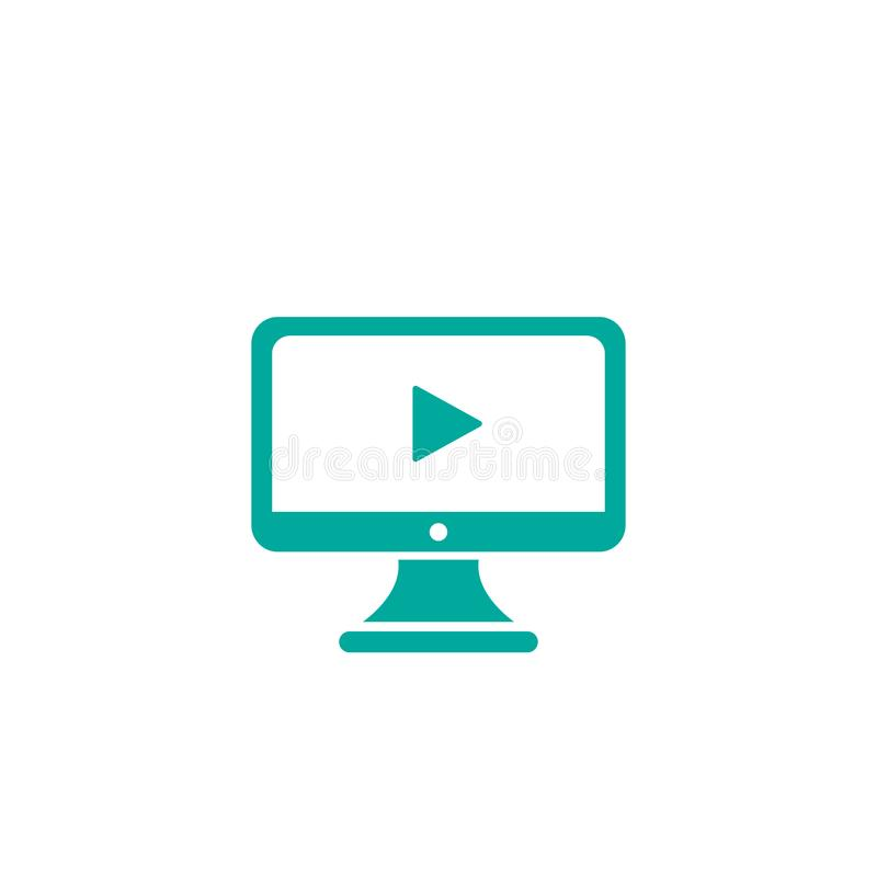 Monitor de computadora azul con la muestra del juego aislada en blanco Icono simple plano botón preceptoral video stock de ilustración