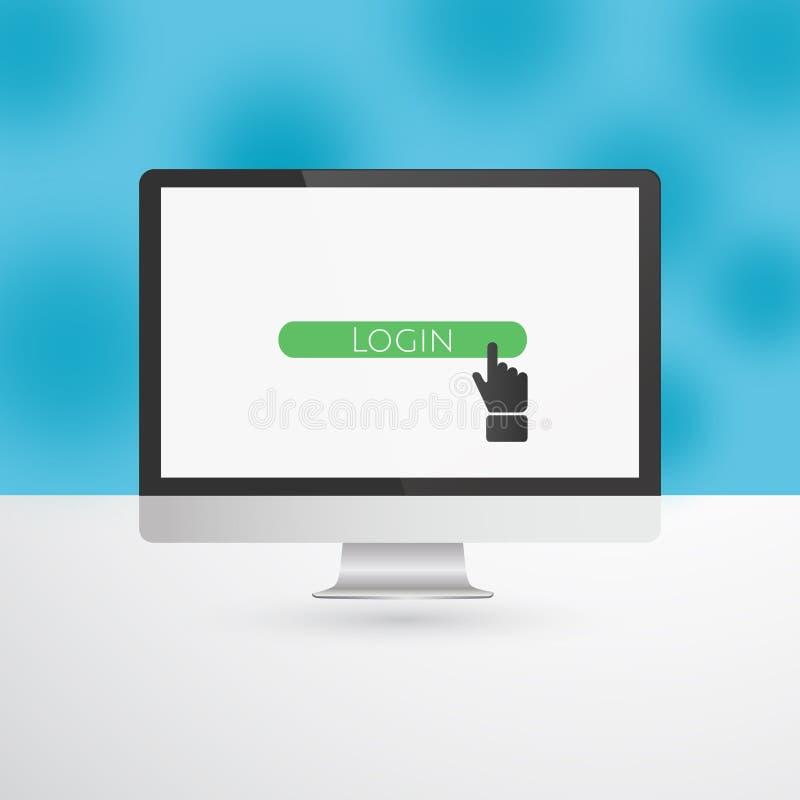 Monitor de computadora con el botón del inicio de sesión y el cursor verdes de la mano libre illustration