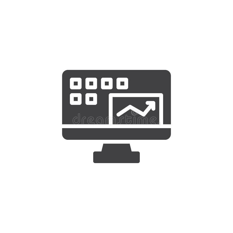 Monitor de computadora con el icono del vector del informe de la contabilidad financiera stock de ilustración