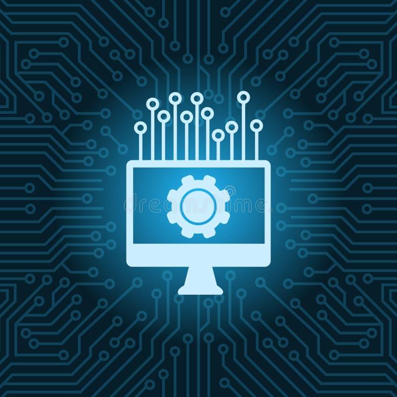 Monitor de computadora con el icono de la rueda dentada sobre fondo azul de la placa madre del circuito ilustración del vector