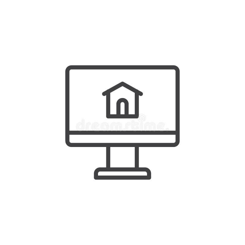 Monitor de computadora con la línea icono de la casa ilustración del vector