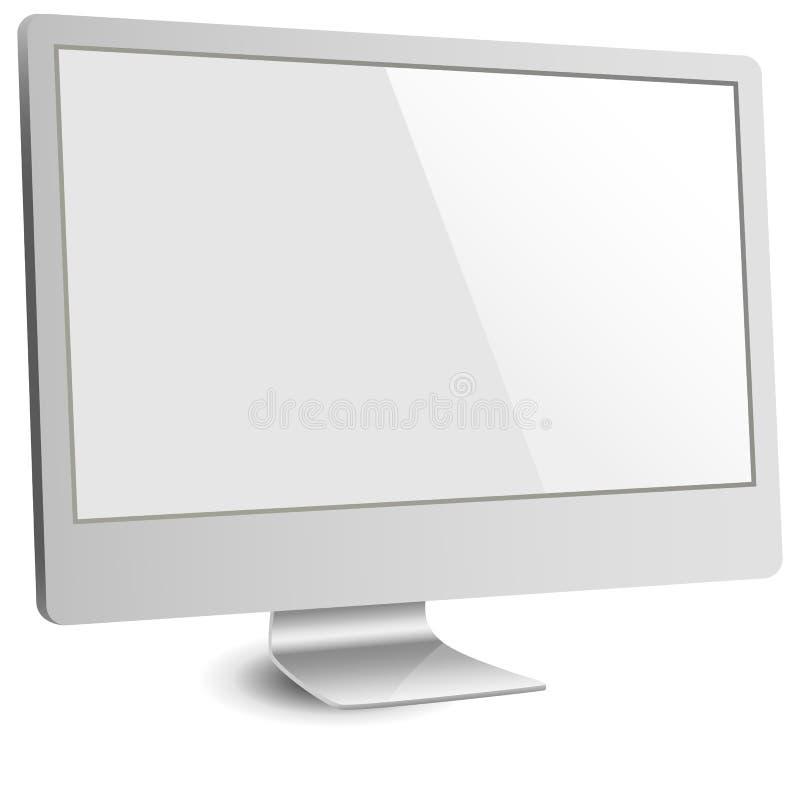 Monitor de computadora de plata con la pantalla en blanco ilustración del vector
