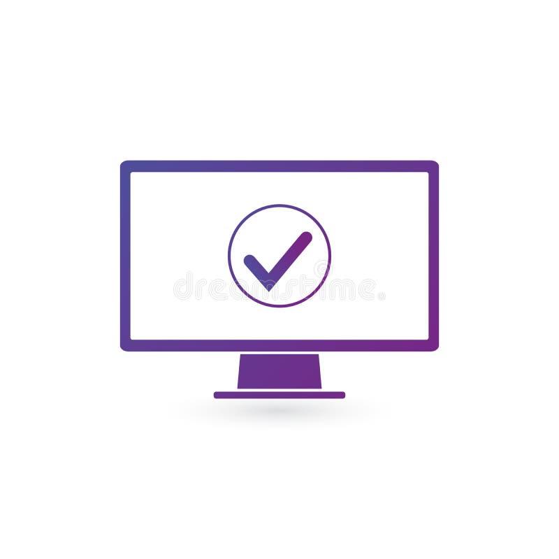 Monitor de computadora y marca de cotejo en círculo en color púrpura de la pendiente La actualización acertada, acepta, botón ace ilustración del vector