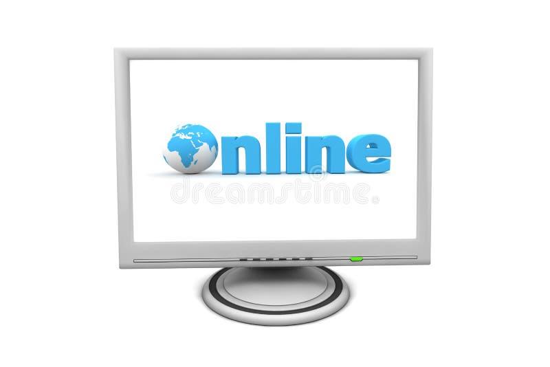Monitor de la pantalla plana del LCD en línea stock de ilustración