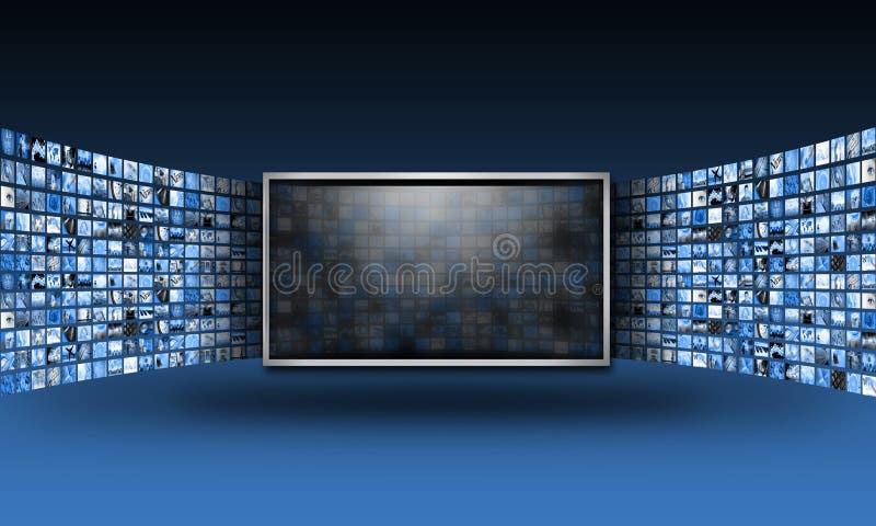 Monitor de la pantalla plana TV con fluir imágenes ilustración del vector