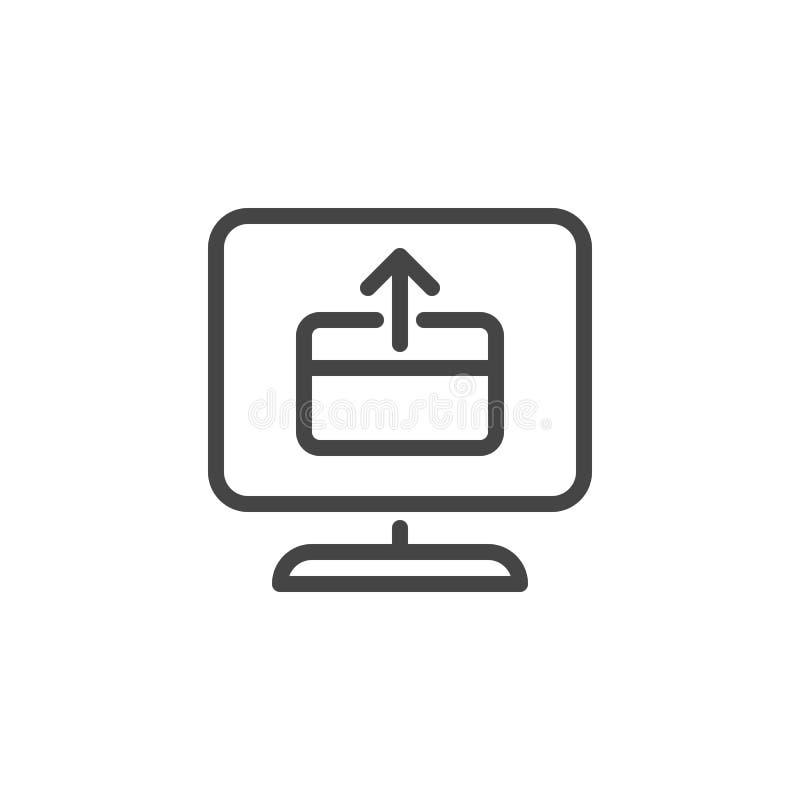 Monitor de la pantalla, tarjeta de crédito con la flecha encima del icono Tecnologías de la web del pago, comprobación de la rent stock de ilustración
